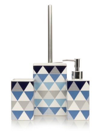 George Home Blue Triangle Print Bathroom Accessories