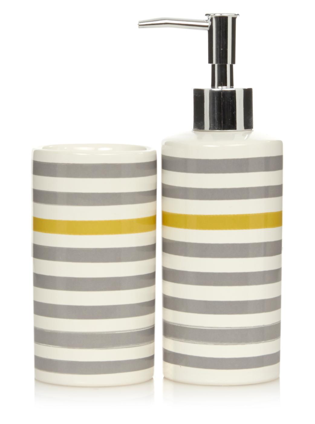 george home grey and yellow stripe bathroom accessories | bathroom