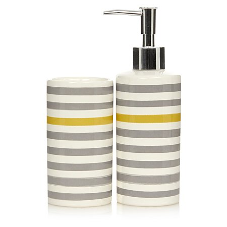 George home grey and yellow stripe bathroom accessories for Grey bathroom accessories set
