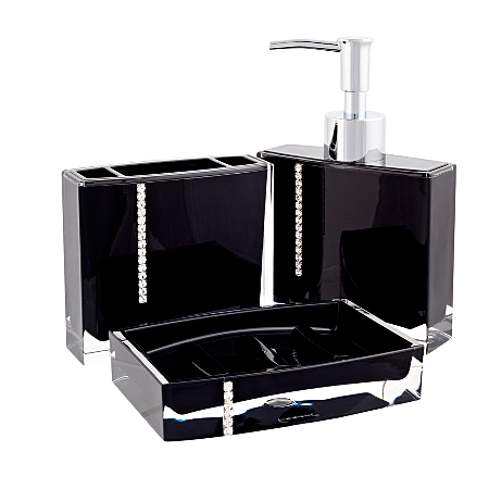 George home accessories black bling bathroom for Black bling bathroom accessories