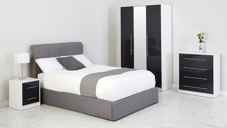 George Home Donahue Bedroom Furniture Range - White and Graphite Gloss