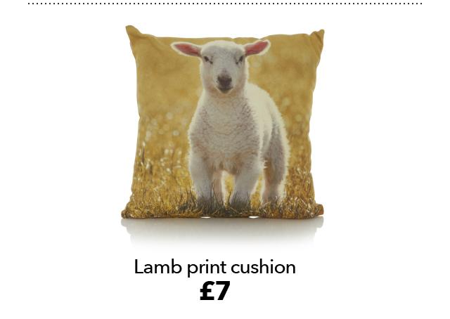 Lamb print cushion