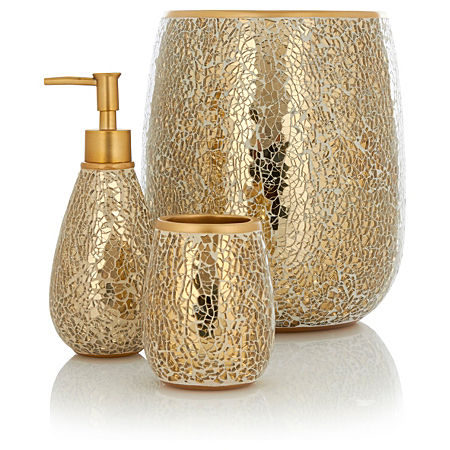 George home accessories gold sparkle bathroom for Gold bathroom accessories
