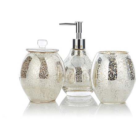 George home accessories mercury glass bathroom for Bathroom accessories glass