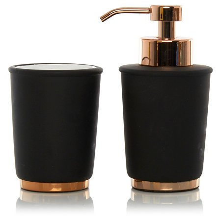George home black copper bathroom accessories for Marble bathroom bin
