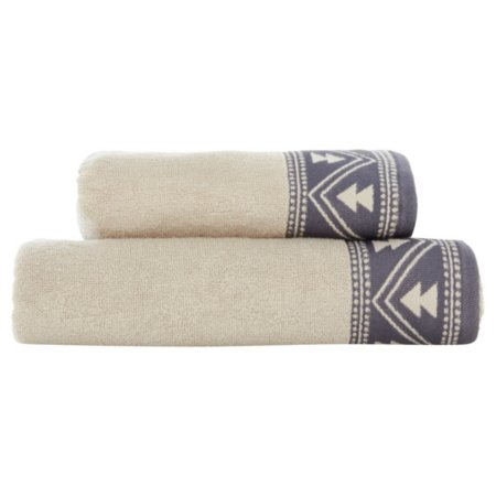 George Home 100% Cotton Towel Range - Grey Ikat Border