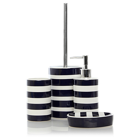 george home blue rugby stripe bathroom accessories