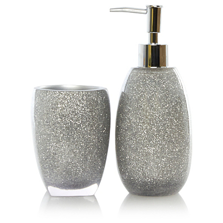 George home silver glitter bathroom accessories bathroom for Silver bath accessories set