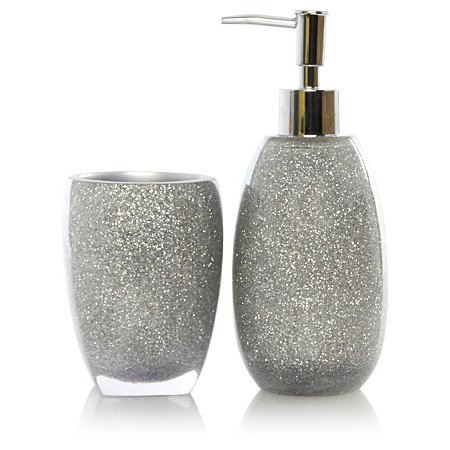 George home silver glitter bath accessories range for Grey silver bathroom accessories