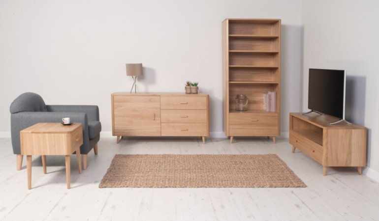George Home Idris Living Room Furniture Range - Oak and Oak Veneer