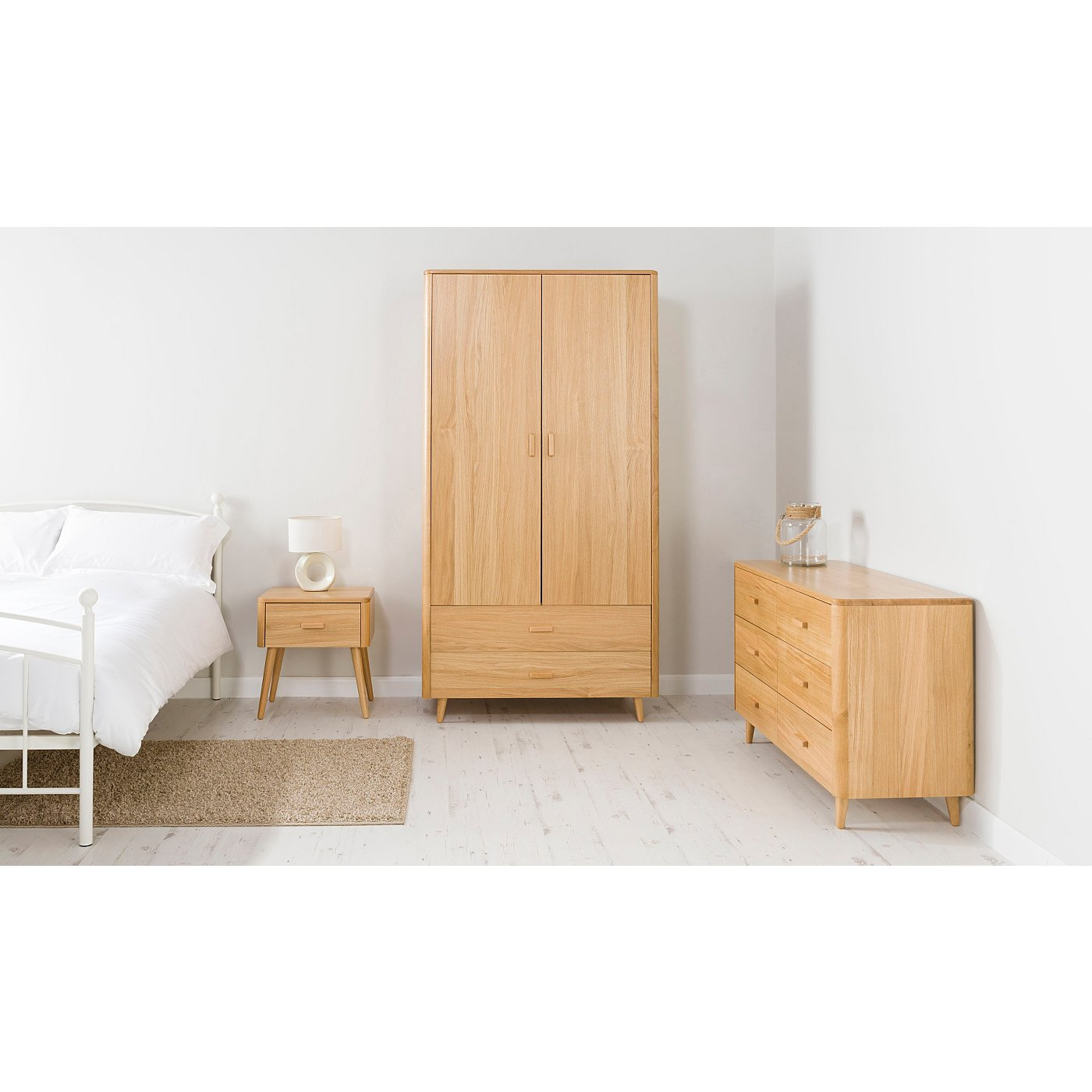 Oak Veneer Bedroom Furniture George Home Idris Bedroom Furniture Range Oak And Oak Veneer