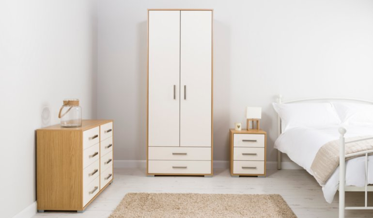 George Home Brogan Bedroom Furniture Range - Oak Effect and Ivory