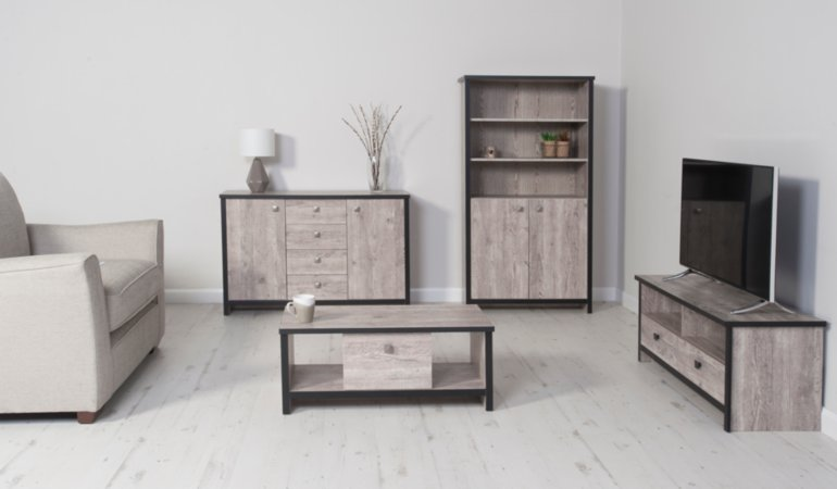 George Home Declan Living Room Furniture Range - Distressed Pine Effect