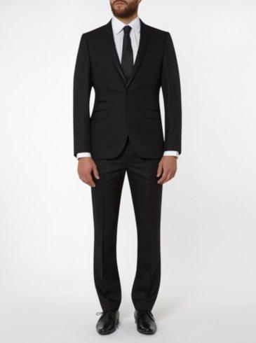 Tailor & Cutter Slim Fit Jacquard Suit - Black