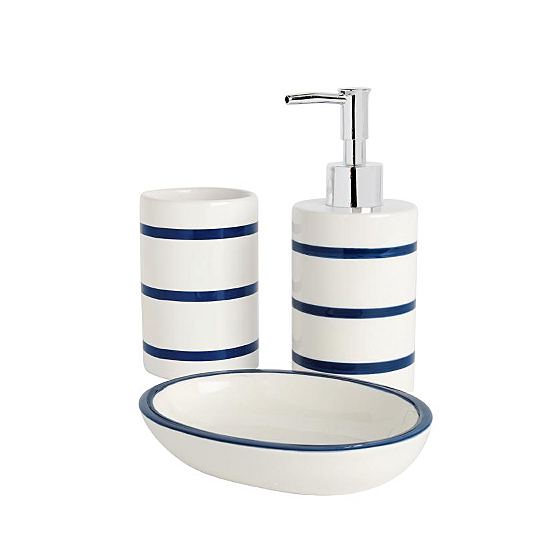 Bathroom range navy stripe bathroom accessories asda for Navy bathroom accessories