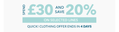 Stock up before it's too late with our spend £30 and save 20 percent off on baby girls and boys clothing and nursery essentials now at George.com
