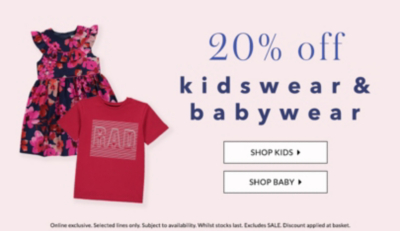 What a treat! Get 20% off kidswear and babywear at George.com