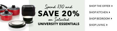 Off to uni soon? Save 20% when you spend £30 on all essentials at George.com