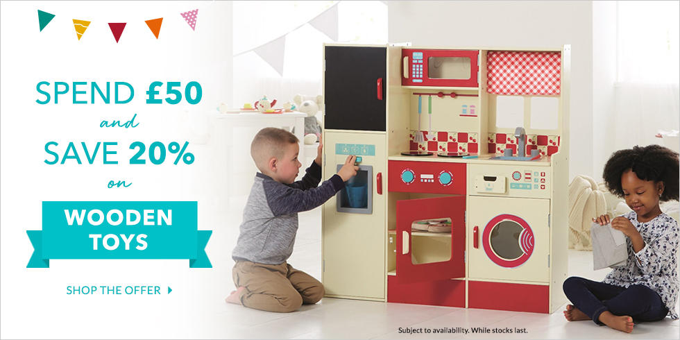 Top up their toy box and save 20% when you spend £50 on wooden toys