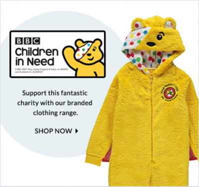 Give Children In Need support with our branded range of clothing at George.com