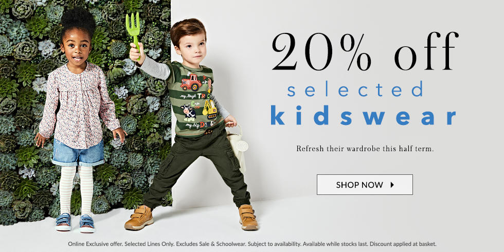 Treat them to new style with 20% off selected kidswear at George.com (for both girls and boys)
