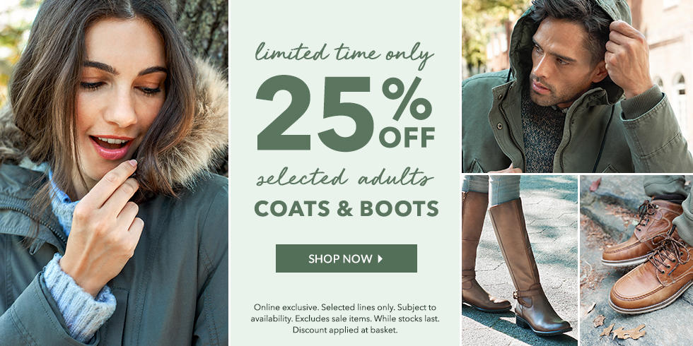 Brace for the winter with 25% off all men and women's boots and coats at George.com