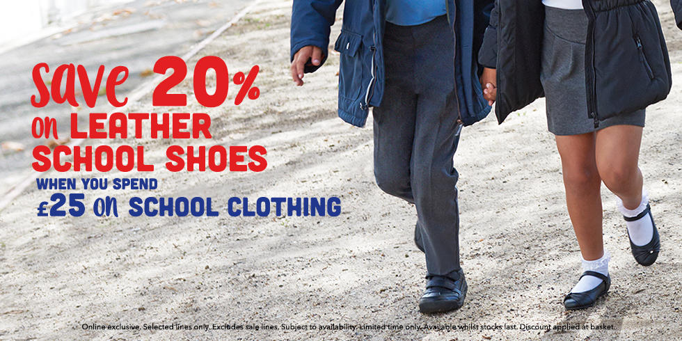 Beat the back to school stress and save 20% on kids leather school shoes when you spend £25 on school clothing at George.com