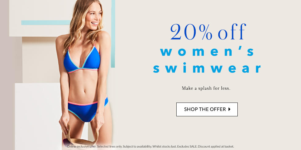 Make waves with 20% off selected swimwear at George.com