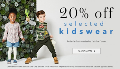 Treat them to new style with 20% off selected kidswear at George.com