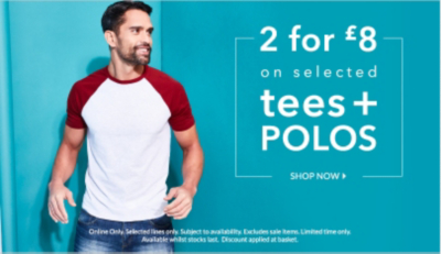 Take advantage of our 2 for £8 t-shirt offer and stock up on wardrobe essentials