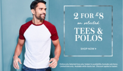 Top up on your essentials with 2 for £8 on selected tees at George.com