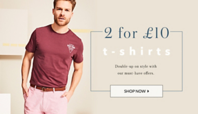 Get 2 menswear tees for £10 at George.com