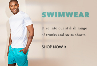 Dive into our stylish range of swimwear for men at George.com