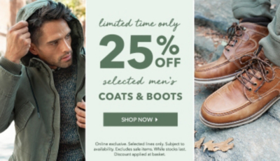 Wrap up winter with 25% off selected boots and coats at George.com