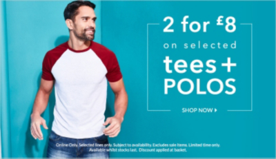 Stock up on selected tees and polos now 2 for £8 at George.com