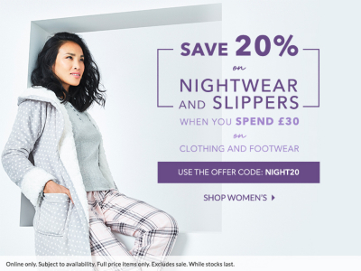 Get your hands on 20% off all nightwear and slippers when you spend £30 on all clothing and footwear at George.com