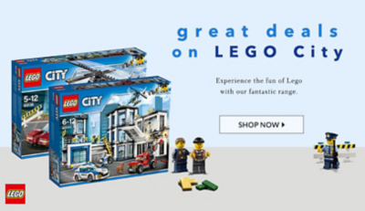 Shop our toy deals on selected Lego city sets at George.com