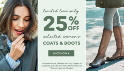 Cosy up with 25% off selected boots and coats and George.com