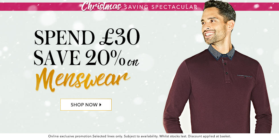 Kit your wardrobe out this winter and save 20% when  you spend £30 on menswear at George.com