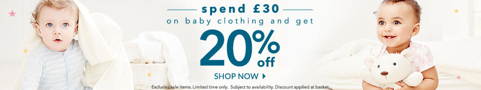 Spend £30 on baby clothing and get 20% off with our brilliant baby event at George.com