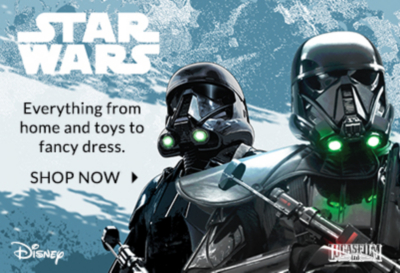 Go starry-eyed for our latest Star Wars collection of home, toys, clothing and fancy dress only at George.com