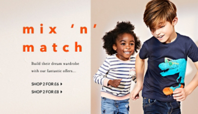 Stock up their wardrobe with our 2 for £6 and 2 for £8 offers at George.com