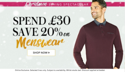 Spend £30 and save 20% on menswear at George.com