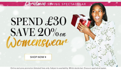 Save a massive 20% on our range of womenswear, exclusive to George.com