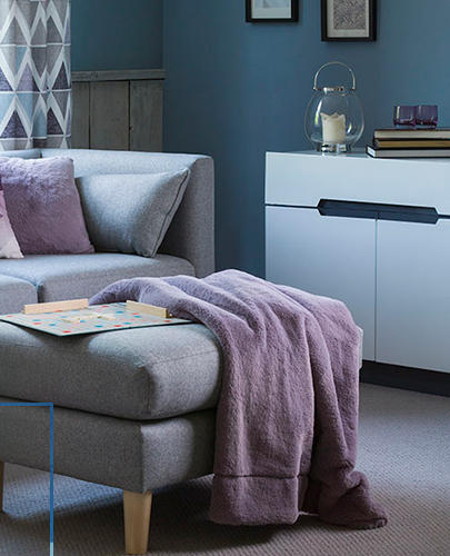 Cool grey sofas, icy purple throws and scandi-inspired geometric prints - enjoy our Glacier trend for autumn winter at George at Asda