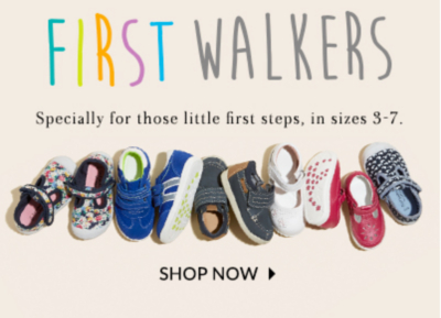Discover new shoes for little feet with our First Walkers range.