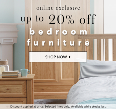 Get up to 20% off bedroom furniture at George.com