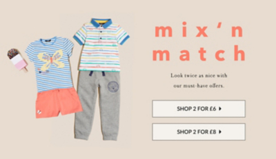 Shop 2 for £6 on kids' clothing at George.com