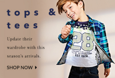 Check out our range of tops for boys. Because they can never have enough.