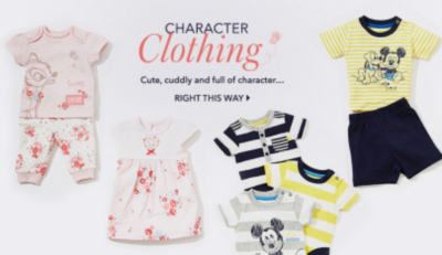 Find a great range of baby character clothing at George.com